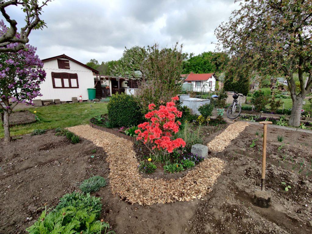Gartentagebuch Mai 2020 - Gartenweg aus Holzschnetzeln