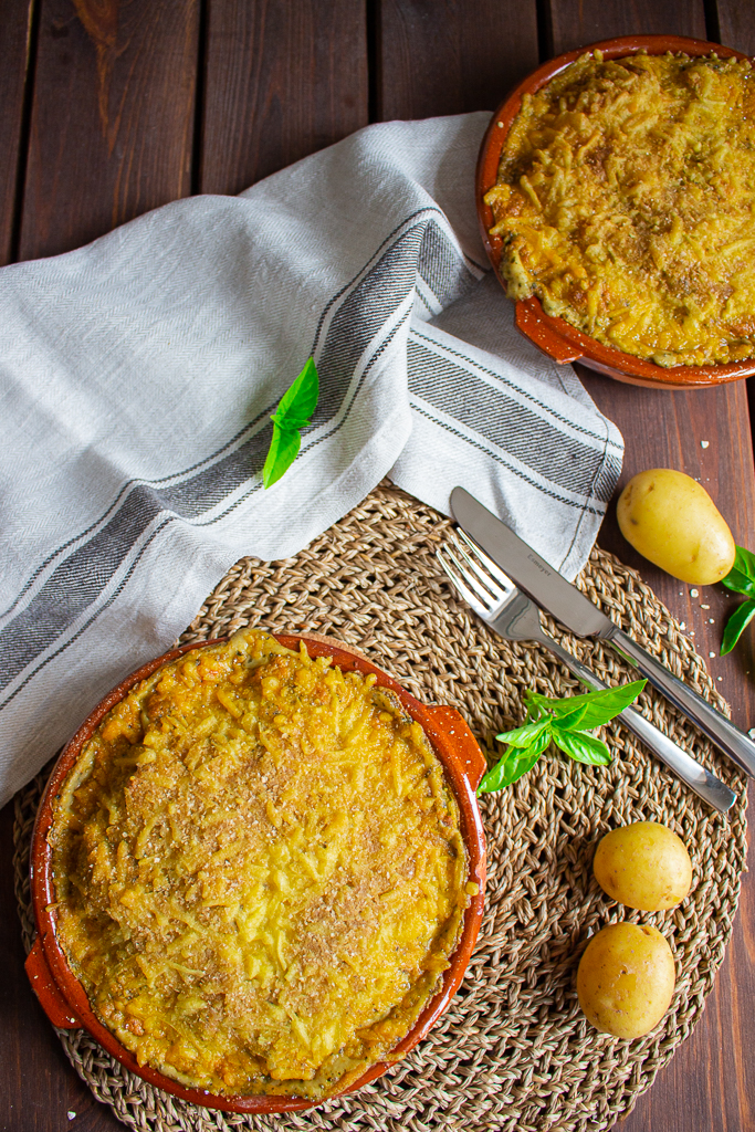 Veganes Kartoffelgratin mit Brokkoli