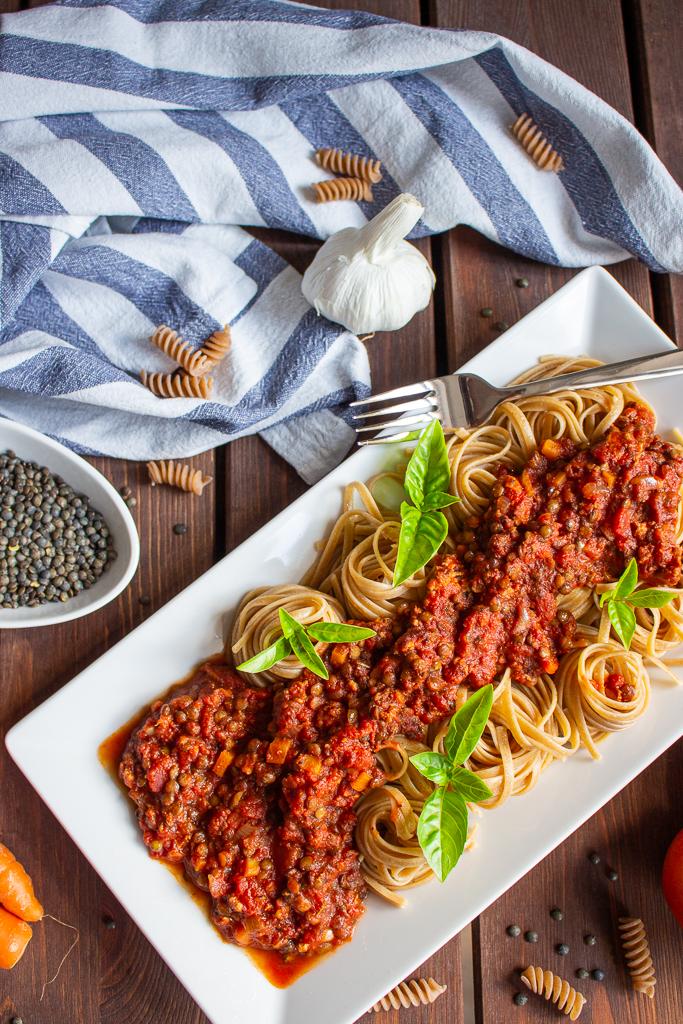 Vegane Bolognese mit Linsen