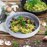 Cremiges veganes Risotto mit Pilzen