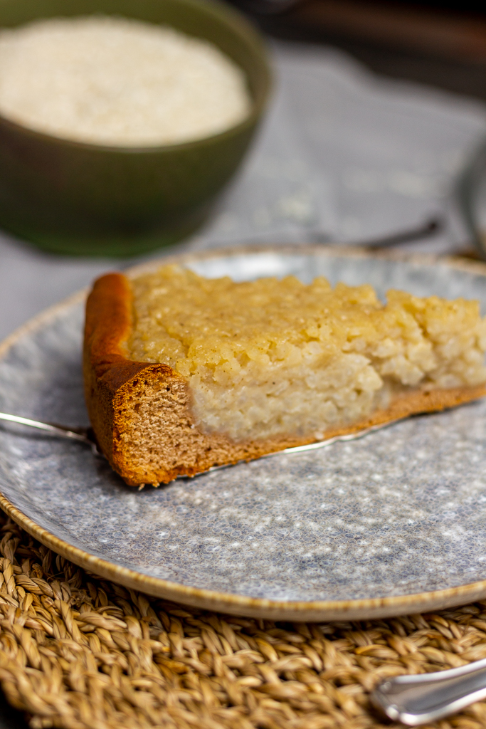Veganer belgischer Reisfladen - ein Traum von Kuchen aus Milchreis