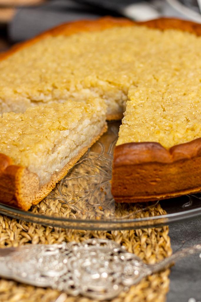 Veganer belgischer Reisfladen ist eine super leckere Käsekuchen-Alternative