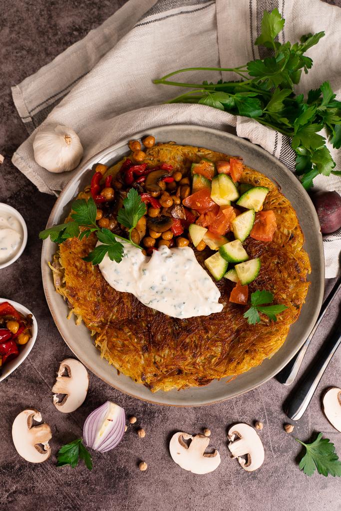 Ein selbstgemachter Kartoffelpuffer schmeckt auch in einer herzhaften Variante sehr lecker!