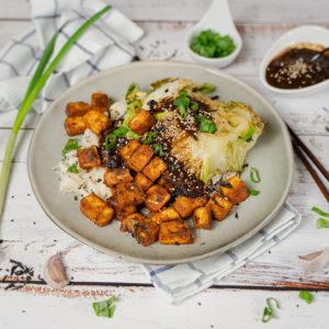 Rezept und Instagram-Bild für gebackenen Chinakohl mit krossem Tofu